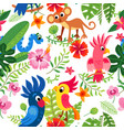 zoo jungle pattern a tropical bird background vector image vector image