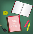 Back to school supplies Books and blackboard vector image