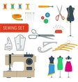 Sewing equipment set icons vector image