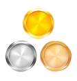 Three blank prize medals vector image