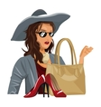 beauty wo trendy clothes with red heel purse vector image