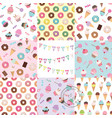 birthday seamless pattern set with sweets vector image vector image