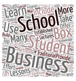 business school in a box text background wordcloud vector image vector image