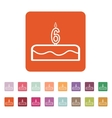 Cake with candles in the form of number 6 icon vector image
