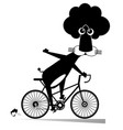 cartoon lion rides a bike vector image vector image