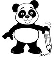 Cartoon panda bear holding a pencil