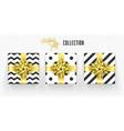 christmas gift box golden bow ribbon icons set vector image vector image