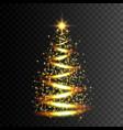 christmas tree gold glitter light effect vector image