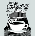 coffee banner on background of athenian acropolis vector image vector image