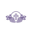 communion wafer with grapes line design vector image vector image