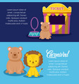 cute animals with sale ticket circus vector image vector image