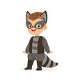 cute happy boy dressed as a raccoon kids carnival vector image vector image