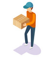 delivery man with package in hands isolated person vector image