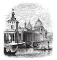 della salute church and custom house vintage vector image vector image