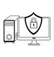 desktop computer with shield vector image vector image