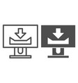 desktop monitor with download sign line and glyph vector image vector image
