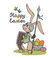 easter bunny knight with a lance and shield vector image