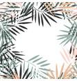 elegant pastel frame tropical palm leaves vector image vector image