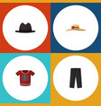 flat icon garment set of elegant headgear panama vector image vector image
