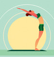girl standing in the yoga upward tree pose vector image vector image