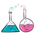 glass flaskes with blue and pink fluid in love on vector image