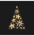 gold stars christmas tree to winter holiday vector image vector image