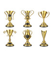 golden trophy realistic isolated cup award vector image