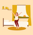 happy young woman or girl waking up with rising vector image