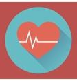 Heart rhythm and cardiogram medical flat icon vector image
