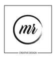 initial letter mr logo template design vector image