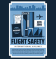 international airlines airport flight safety vector image