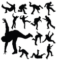 man in various poses of break dance silhouette vector image vector image