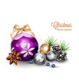 merry christmas card with cute decorations vector image vector image