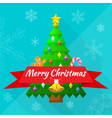 merry christmas greeting card with tree and vector image