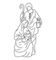 nativity scene joseph with cane and mary vector image vector image