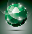 Party dimensional green sparkling disco ball vector image vector image