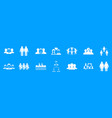 people group icon blue set vector image