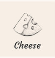 piece of cheese hand drawn vector image