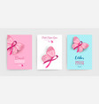 pink breast cancer butterfly ribbon art poster set vector image vector image