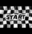 realistic flag auto racing inscription start vector image