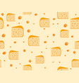 seamless pattern with cheese cheese with holes vector image
