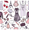 seamless pattern with woman clothes endless vector image vector image