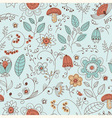 seamless summer doodle style floral pattern vector image