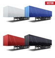 Set of blue parked semi trailer vector image
