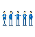 set of character design of person with blue shirt vector image