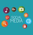 social media set icons vector image vector image