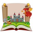 storybook with knight and castle vector image vector image