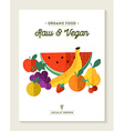 Vegan and vegetarian food concept with fruits vector image vector image