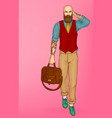 walking stylish hipster man pop art vector image vector image