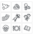Wedding Agency icons vector image vector image